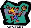 Vector Clip Art image  of a tennis player