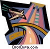 airplane landing Vector Clip Art picture