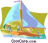 business team sailing Vector Clipart illustration