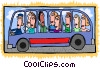Vector Clipart image  of a bus full of people