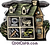 Vector Clip Art graphic  of a Cross Section of house