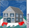 Vector Clip Art graphic  of a House on life raft