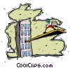 Vector Clip Art graphic  of a business / walking the plank