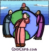 Vector Clipart graphic  of a global cooperation