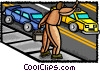 businessman on the move with taxi Vector Clipart graphic