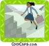 business woman climbing stairs Vector Clip Art graphic
