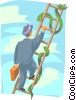 Vector Clip Art graphic  of a Businessman climbing the