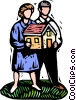Vector Clipart graphic  of a people and home real estate
