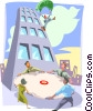 Vector Clip Art image  of a Leap of faith