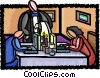working at the dinner table Vector Clip Art graphic