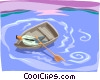 Vector Clip Art graphic  of a Up a creek with only one oar