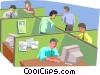 People working in office setting Vector Clip Art graphic