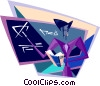 Vector Clipart picture  of a teacher working at the black