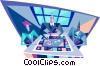 Vector Clip Art picture  of a business people playing a game