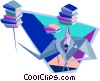 Vector Clipart image  of a businessman balancing books