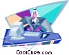 Vector Clipart image  of a businessman working at the