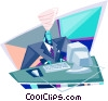 Vector Clipart graphic  of a businessman working at a cv
