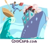 Jumping ship Vector Clip Art picture