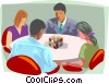 Vector Clip Art graphic  of a Business meeting, problem solving