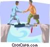 businessmen walking across a bridge Vector Clipart graphic