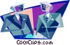 businessmen with computer heads Vector Clipart graphic