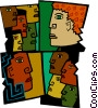multi-racial society, modern man Vector Clip Art picture