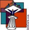 Vector Clip Art image  of a man on a pedestal holding a