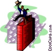 metaphor businessman riding bull Vector Clipart picture