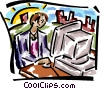 Vector Clip Art image  of a woman at a computer