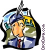Vector Clipart image  of a feather in his hat