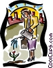 Vector Clipart picture  of a woman watering a seedling