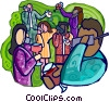 Vector Clip Art graphic  of a business party with co-workers