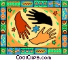 international hands, diversity Vector Clipart graphic