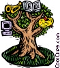 woodcut tree of creative knowledge Vector Clipart graphic
