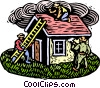 Woodcut house with workmen Vector Clipart graphic