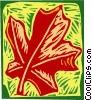 Vector Clipart picture  of a Woodcut leaf design motif