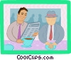 Vector Clipart picture  of a business lunch