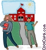 kids at school Vector Clip Art graphic