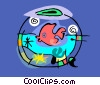Vector Clip Art image  of a Fish in fish bowl
