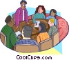 Vector Clipart graphic  of a meeting at a boardroom table