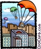 Vector Clip Art graphic  of a computers parachuting to earth