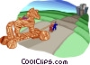 Vector Clipart graphic  of a bringing Trojan horse to city