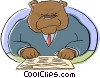business bear reading the stock report Vector Clipart illustration