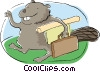 business eager beaver on his way to work Vector Clipart picture
