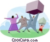 office workers carrying packages Vector Clip Art image