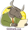 business bull reading the stock report Vector Clip Art image