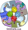 Vector Clip Art graphic  of a depicting the gears of business