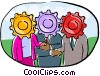 human forms depicting the gears of business Vector Clip Art image