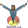 Vector Clip Art graphic  of a conducting an orchestra