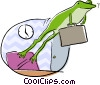 Vector Clip Art image  of a frog jumping from its desk